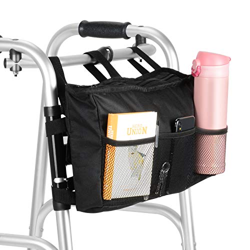 (SupreGear Walker Bag, High Quality Folding Walker Bag Organizer Pouch Tote for Any Walker Style Rollator and Wheelchair, Machine Washable)