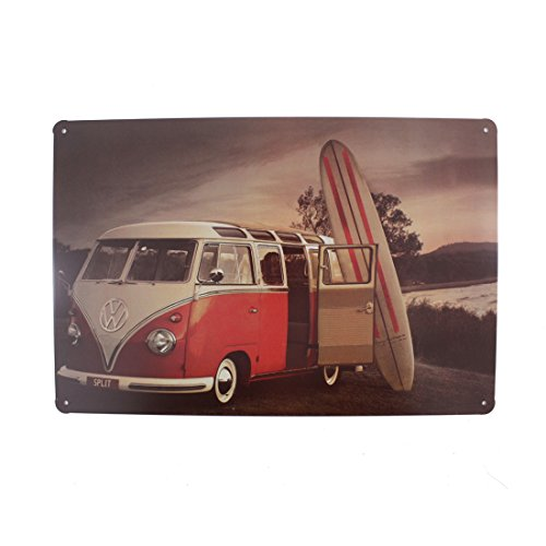 (12x8 Inches Pub,bar,home Wall Decor Souvenir Hanging Metal Tin Sign Plate Plaque (Red Bus and Surf Board))