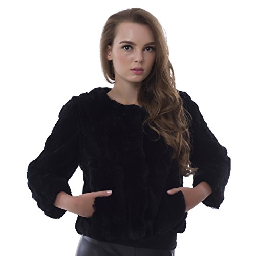 OBURLA Genuine Rex Rabbit Fur Ladies Coat, Black Luxury Real Fur Short Jacket