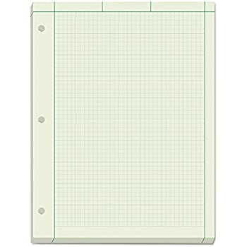 TOPS Engineering Computation Pad 8 1 2 X 11 Glue Top 5 Graph Rule On Back Green Tint Paper 3 Hole Punched 200 Sheets 35502