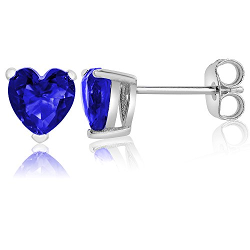 Queen Jewelers Sterling Silver Cubic Zirconia Solitaire Heart Stud Earrings (Sapphire-Blue)
