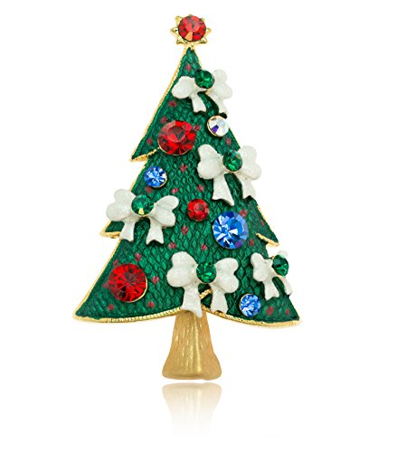 Brooch Tree Swarovski Christmas (Akianna Gold-tone Swarovski Element Crystals Christmas Tree White Bows Pin Brooch)