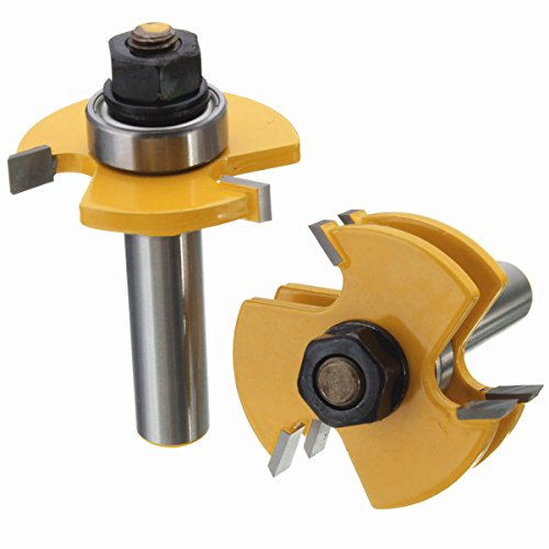 Yingte Tongue and Groove Set, 1/2 Inch Shank T Shape Wood Milling Cutter Woodworking Tool, Wood Door Flooring 3 Teeth Adjustable,2 Piece by Yingte (Image #3)