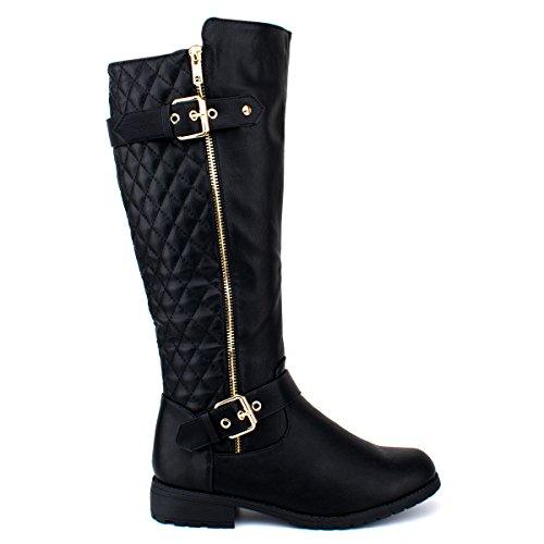 Premier Standard Damen Quilted Side Zip Kniehohe Flat Reitstiefel - Trendy High Heel Schuh - Sexy Kniehoher Stiefel - Bequeme Easy Heel Premier Schwarz Pu