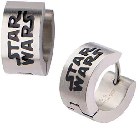 Licensed Star Wars Orginal Logo Stainless Steel Huggie Earrings