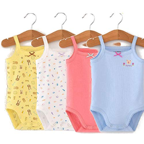 Infants Baby Girls Sleeveless Onseies Tank Top 100% Cotton Baby Bodysuit Pack of Cardigan Onsies for Infants (12-18 Months)