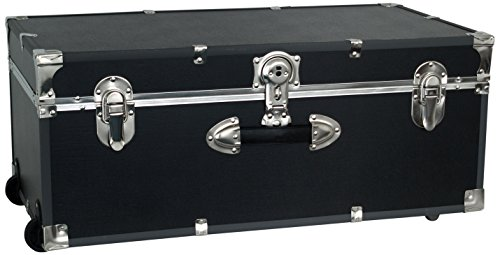 Black and silver storage trunk with wheels.
