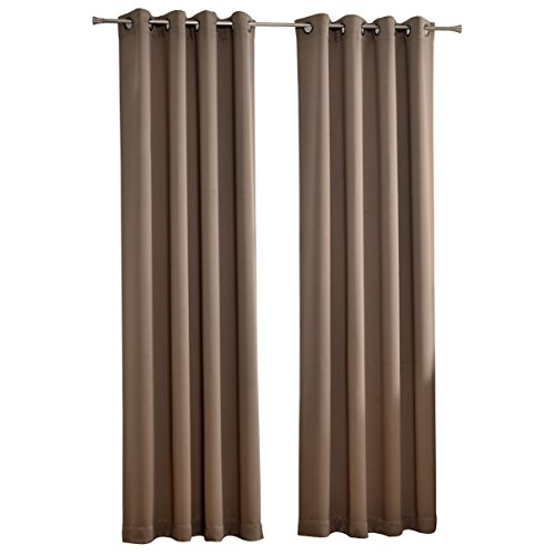MYSKY HOME Solid Grommet top Thermal Insulated Window Blackout Curtains for Living Room, 52 x 84 inch, Taupe, 1 Panel by MYSKY HOME