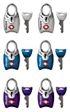 Master Lock 4689T TSA Accepted Padlocks with Keys 6-Pack,Assorted Colors
