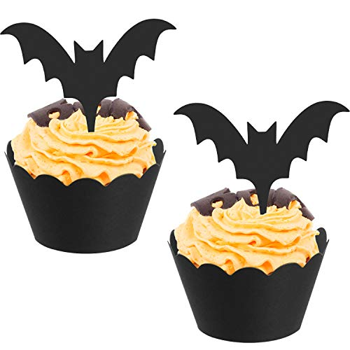 BBTO 48 Pieces Halloween Bat Cupcake Toppers Wrappers Cupcake Liners Halloween Picks for Halloween Party Cake Decoration