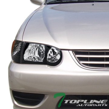 Topline Autopart Black Housing Headlights With Signal Corner Lamps & Amber Reflector 4-Pieces K2 For 01-02 Toyota Corolla