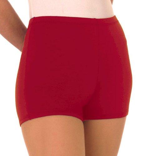 Nylon Cheerleading Briefs - 100 % Stretch Nylon Boy-Cut Brief Trunks, YL, Red