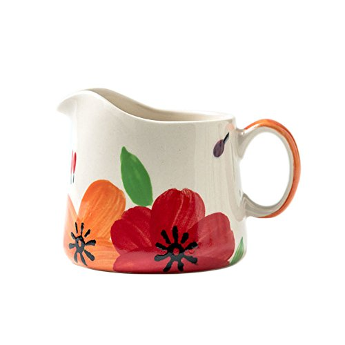 CHOOLD Hand-Painted Floral Ceramic Coffee Milk Creamer Pitcher with Handle Serving Pitcher Sauce Pitcher Milk Creamer Jug for Kitchen