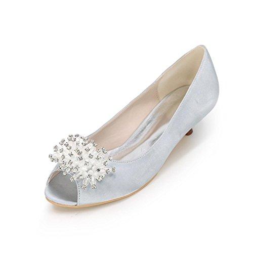 L@YC Women Wedding High Heels Peep Toe Large Size Wedding Shoes Custom Multi-Color Silver zhFHVbsDsc