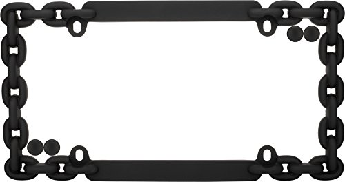 Cruiser Accessories 20500 Chain License Plate Frame, Flat Black w/fastener caps