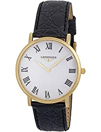 Presence 18K Solid Gold L48246112 Black Leather Strap White Dial Quartz Mens Watch