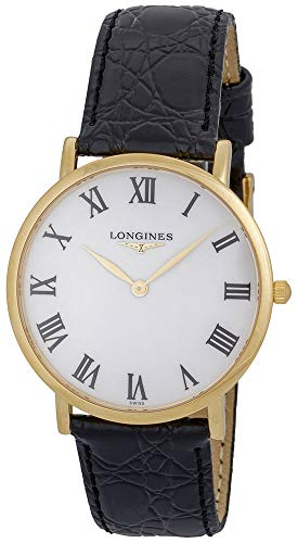 Longines Presence 18K Solid Gold L48246112 Black Leather Strap White Dial Quartz Mens Watch ()