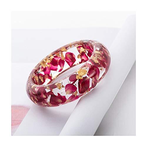 (IDesign Bangle Bracelet for Women Flower Bracelet Resin Plastic Bracelet Bangle Nature Dry red Flower Rose Petals for Women Girls in Spring Summer (Sexy Pink))