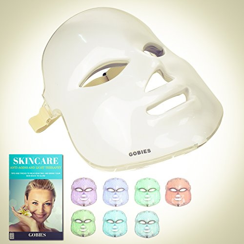 [FDA APPROVED ] 7 Colors LED Light Therapy Mask With Free Skincare & Anti-Aging Natural tips E-book | Your Perfect Red Light Therapy Facial Machine and Acne Mask by GOBIES