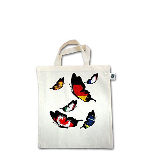 Länder - WM Länder Schmetterlinge - Unisize - Natural - XT500 - Fairtrade Henkeltasche / Jutebeutel mit kurzen Henkeln aus Bio-Baumwolle