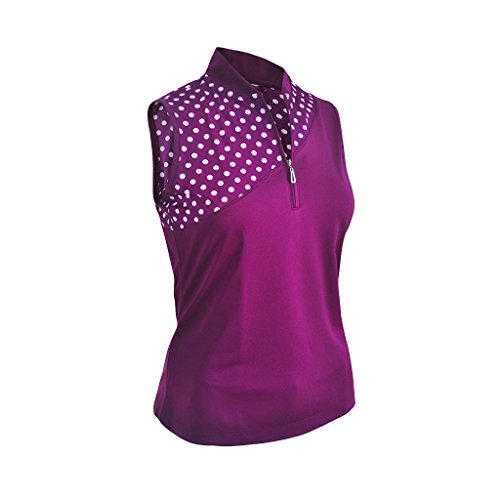 Monterey Club Ladies Dry Swing Polka Dot Colorblock Sleeveless Shirt #2349 (Eggplant/White, Small)