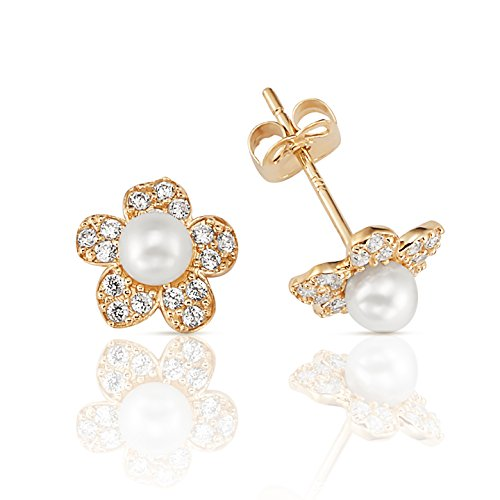 14K Yellow Gold Pearl Stud with CZ Clustered Flower Earrings Clustered Jewels