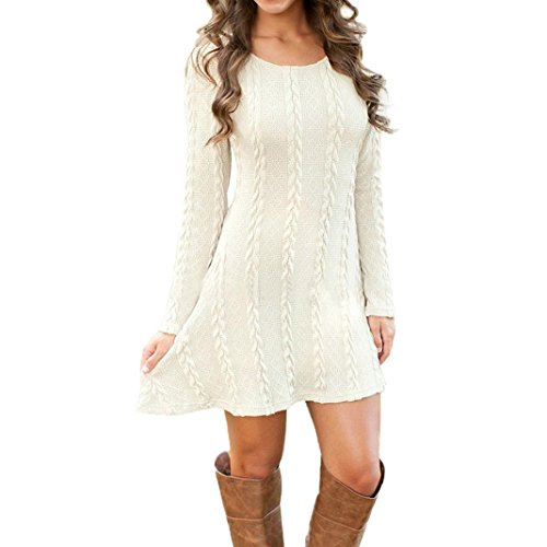 Franterd-Womens-Plain-A-Line-Cable-Long-Sleeve-Knit-Sweater-Mini-Dress