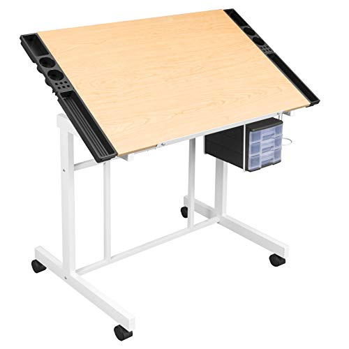 24' Dual Level - Studio Designs Deluxe Craft Station, Top Adjustable Drafting Table Craft Table Drawing Desk Hobby Table Writing Desk Studio Desk with Drawers, 36''W x 24''D, White / Maple