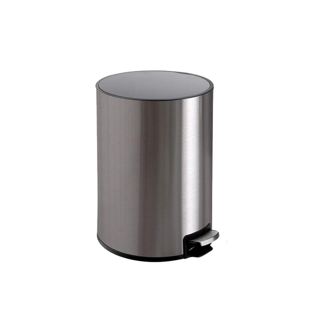 Trash can Trash Can Home with Lid Living Room Creative Kitchen Bathroom Toilet Stainless Steel Bedroom Foot Pedal (Color : Silver, Size : 6L) by CXZS-trash can