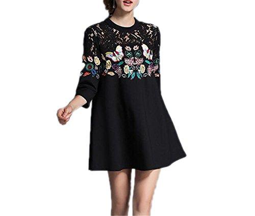 Venetia Morton Fashion Butterfly Embroidery Lace Dress Black Loose Dress Kerst Jurk Dames Kendall Jenner 506580