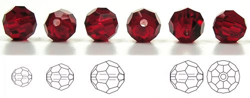 (8mm Siam, Czech Machine Cut Round Crystal Beads, 12 pieces)