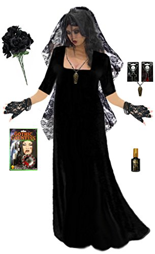 Plus Size Corpse Bride Costume (Sanctuarie Goth Corpse Bride Plus Size Supersize Halloween Deluxe Dress Kit 0x)