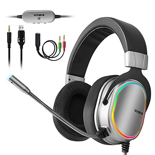 Stereo Gaming Headphones Pc - Pro Gaming Headset for PS4, Xbox One Controller, PC, 3.5mm Surround Stereo Gaming Headphones with Noise Cancelling Microphone, LED Lights & Soft Memory Earmuffs for Laptop Mac Nintendo Switch