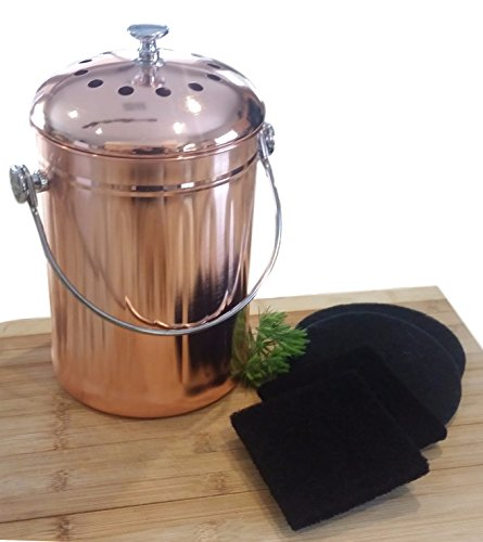 Copper Countertop Compost Bin Crock Bucket for Indoor Kitchen Use - Copper Coated Stainless Steel Pail 1 Gallon - BONUS Includes 2 Sets of DUAL Charcoal Filters (Compost Bins Kitchen compare prices)