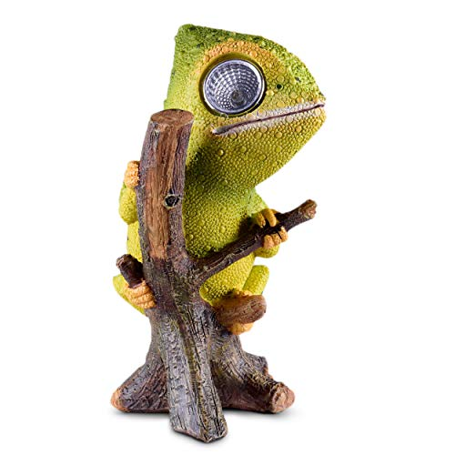 Chameleon Solar Garden Decorations Figurine | Outdoor LED Decor Figure | Light Up Decorative Statue Accents for Yard, Patio, Lawn, Balcony, or Deck | Great Housewarming Gift Idea (Green, 1 - Lizard Accent