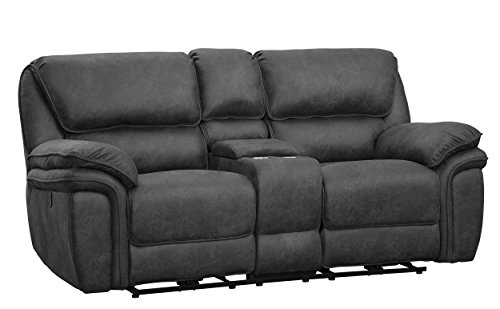 "Homelegance Hadden 80"" Reclining Loveseat with Console, Gr"