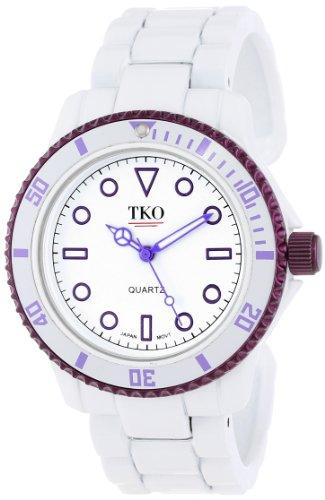 TKO ORLOGI Women's TK594PR White Cuff Purple Bezel - Watch Purple Cuff