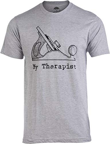 My Therapist (Wood Planer) | Funny Woodworking Working Sawdust Carpenter T-Shirt-(Adult,2XL) Heather Grey