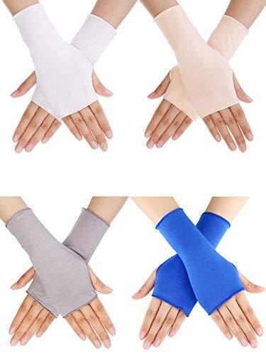 (Bememo UV Protection Gloves Wrist Length Sun Block Driving Gloves Unisex Fingerless Glove (Color Set 7, Wrist Length))