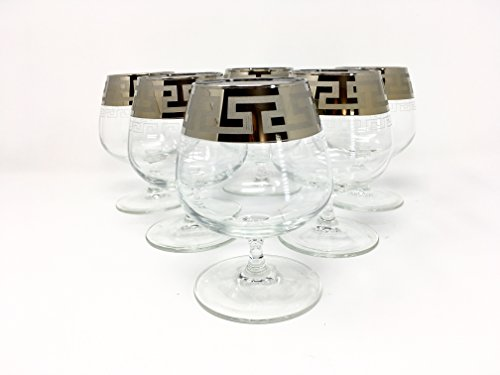 CRYSTAL GLASS SNIFTER GLASSES 13oz./400ml. PLATINUM PLATED SET OF 6 COGNAC BRANDY ARMAGNAC CALVADOS WHISKEY GLASSES ENGRAVED VINTAGE GREEK DESIGN CLASSIC STEM (Brandy Cognac Armagnac)
