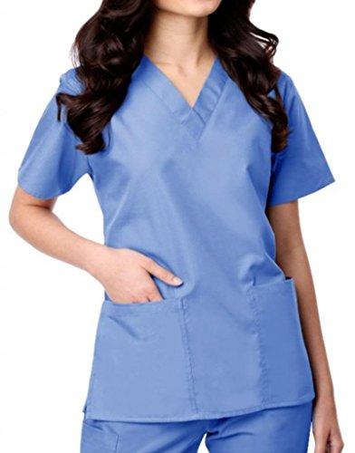 maevn Womens V-neck Dos Pocket Scrub superior y Flare leg Pant Set Ceil Blue