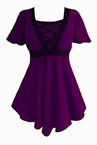 Dare to Wear Victorian Gothic Boho Women's Plus Size Angel Corset Top Plum/Black (Victorian Plus Size)