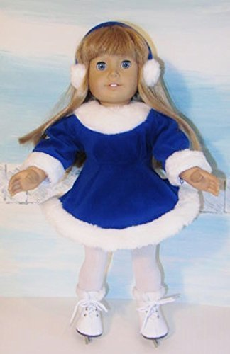 Blue Velvet Ice Skating Outfit Fits American Girl Doll, 18\