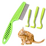 Cat Flea Comb by Purrkins | Strong Teeth That Removes Ticks and Fleas Easily | Every Cat Owner Must Own | Tick Removal Tool For Cats and Dogs