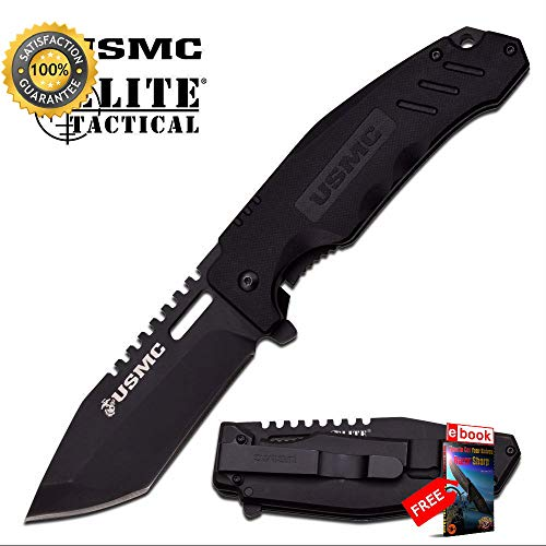 (USMC Elite Tactical Marine Titanium Coated, Black G10 Combat Folding Sharp KNIFE Combat Tactical Knife + eBOOK by Moon Knives)