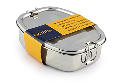 Cal Tiffin Stainless Steel OVAL Bento Lunch box 25 oz, 2-compartment - Eco friendly, Dishwasher Safe, BPA free, Plastic free; Made in India