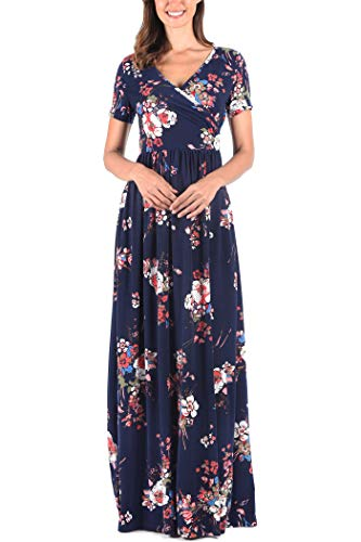 Empire Waist V-neck Jersey (Comila Dresses with Pokcets for Women, Stylish Wrap V Neck Crossover Beach Wedding Dress Summer Short Sleeves Classic Pattern Loose Fit Casual Jersey Dress L (US 12-14) Dark Blue/Red)
