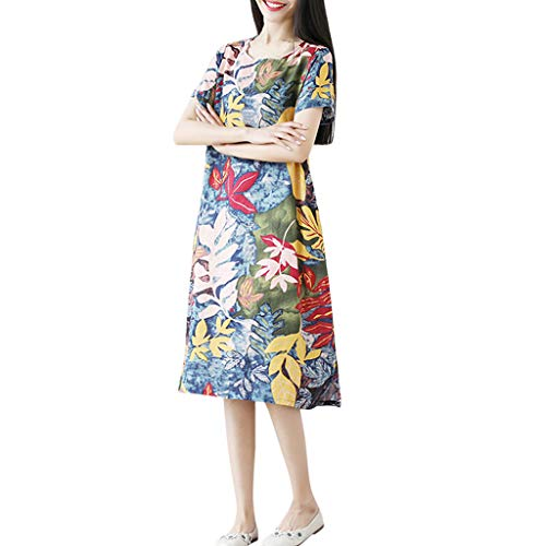 OrchidAmor Women New Summer Printing Loose Plus Size Round Neck Pocket Casual Trend Dress Sky Blue