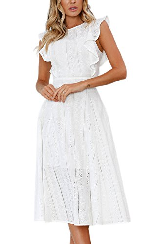 ECOWISH Womens Dresses Elegant Ruffles Cap Sleeves Summer A-Line Midi Dress White L