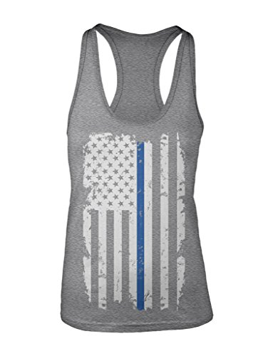 Manateez Women's Tattered Blue Line Law Enforcement Flag Racer Back Tank Top XXL Heather Gray (1067 Pull)